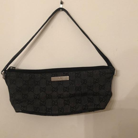 Gucci Handbags - Gucci pochette mini canvas blk on blk leather trim